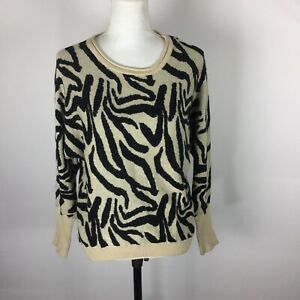 Ellison Ellison Ellison Womens Size Medium Zebra Print Knit Pullover Sweater. B5
