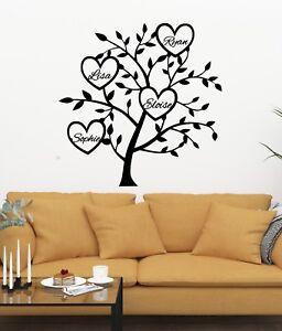 Personalised Family Tree Wall Art Vinyl Sticker Living Room Bed