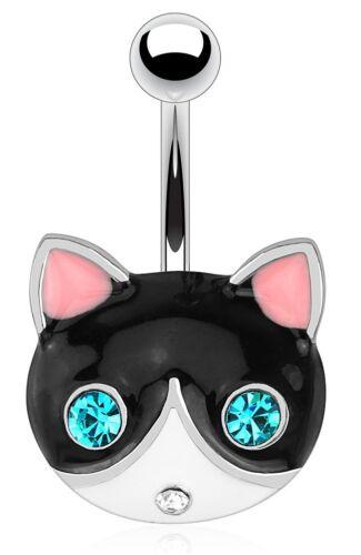 Titanio grado 5-Cara De Gato Fijo Piercing Para Ombligo-Longitud 6mm 8mm 10mm 12mm 14mm