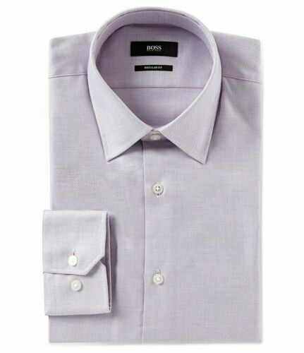 NWT HUGO BOSS ENZO US BLACK LABEL DRESS SHIRT REGULAR FIT POINT COLLAR PURPLE