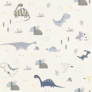 Dinosaurs Wallpaper Kids Children S Room Nursery White Blue Grey Yellow Rasch Ebay