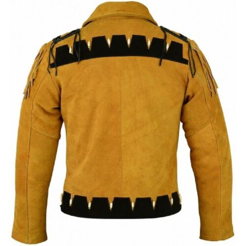 Mens Cowboy American Fringe Style Western Wear Suede Leather Jacket 80s Style