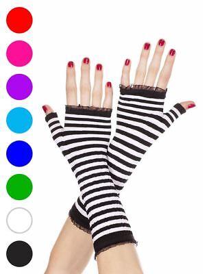 New Music Legs 431 Black Hot Pink Striped Fingerless Gloves