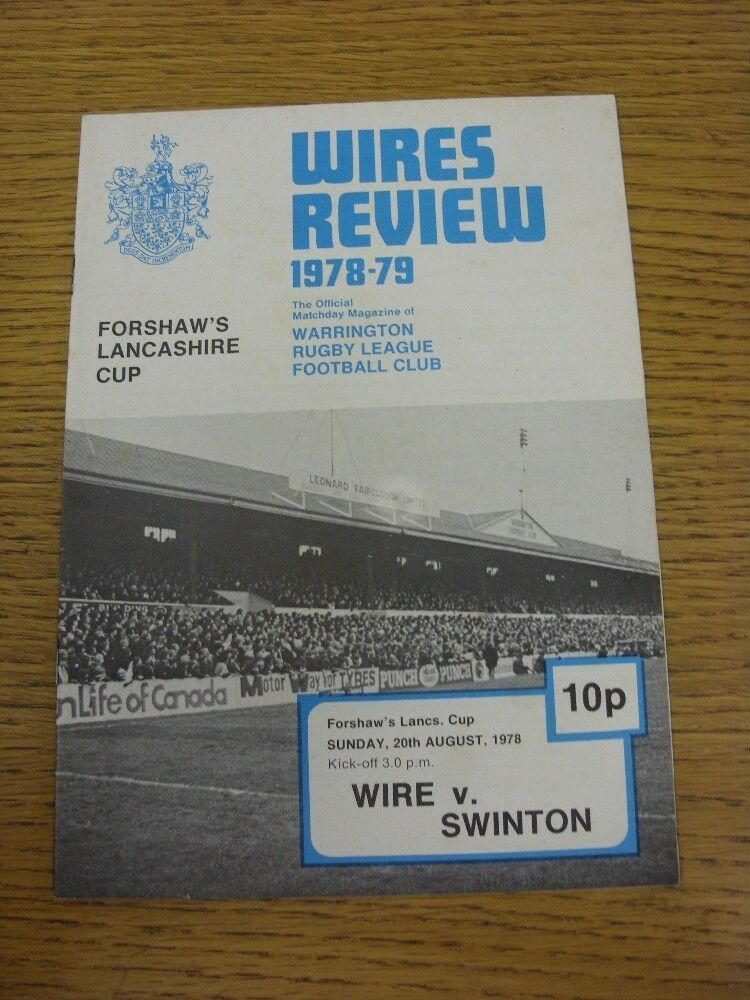 20/08/1978 Rugby Rugby Rugby League programme: Warrington V Swinton [Lancashire CUP] 47e984