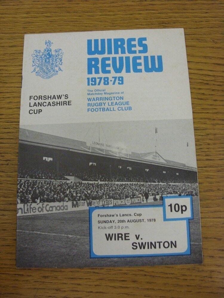 20/08/1978 Rugby League programme: Warrington V Swinton Swinton Swinton [Lancashire CUP] 0fecdb