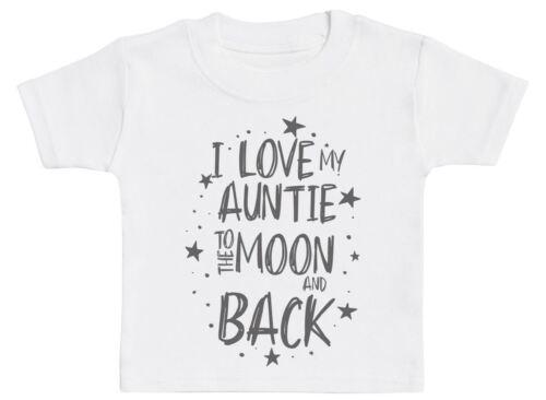 Me encanta mi tía a la Luna y espalda del bebé camiseta