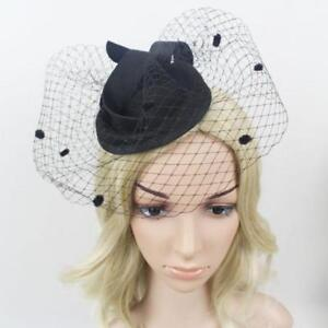 79f8f691545b5 Elegant Black Stewardess Cap Wedding Hair Clip Face Birdcage Veil ...