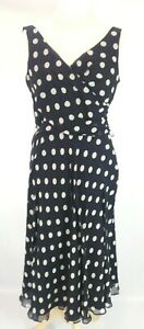 New Planet dress 14 Chiffon mock Wrap Spotted Spot Polka crinkle Fit & Flare