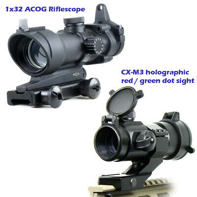 1X32 Holographic Reflex M2 Red//Green Dot Sight Scope 20mm Rail Mount For Airsoft