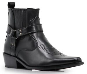 Men-New-Black-Brown-Ankle-Cowboy-Western-Boots-Shoes-Leather-Line-Side-zipper-W1