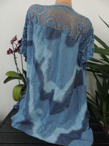 Damen Bluse Größe 46 48 50 52 54 Übergröße Tunika Blusen Shirt Batik Spitze 81