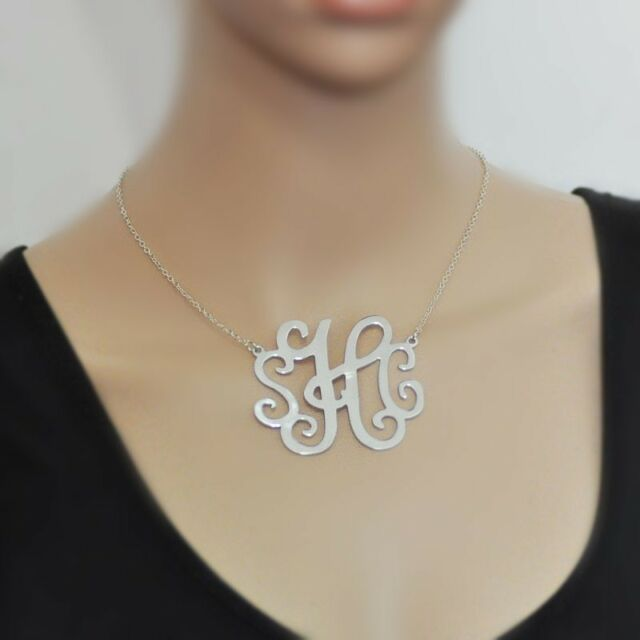 Large monogram necklace, custom 3 initials, 2.4 inch, personalized necklace
