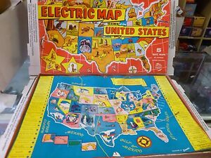 Details about Electric Map of The United States Board Game from Jamcar  Vintage 1970s!