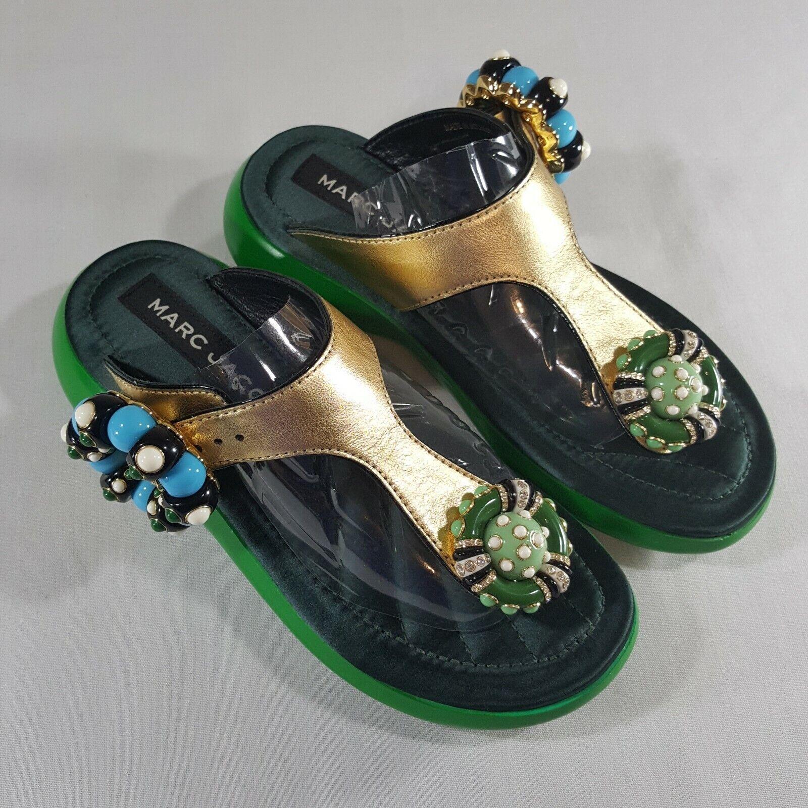 NUOVO Marc  Jacobs donna Mabel Emellited Sandal Flat Slide Platform oro Sz 37  prezzi più convenienti
