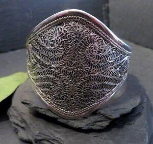 Gigantischer-925-Silber-Armreif-Breit-Armspange-Filigran-Schwer-Sterling-Fein