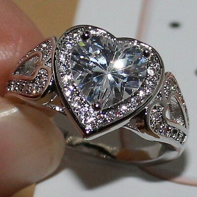 Womens Dazzling Heart-Love White Sapphire 925 Sterling Silver Handmade Ring