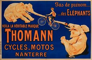 Original-Vintage-Poster-Cycles-Motorcycles-Thomann-Elephant-Bicycle-1926