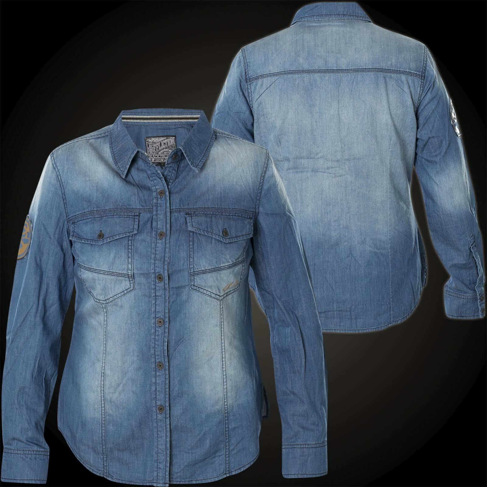 AFFLICTION Damen Jeanshemd Blau Dawn Blau
