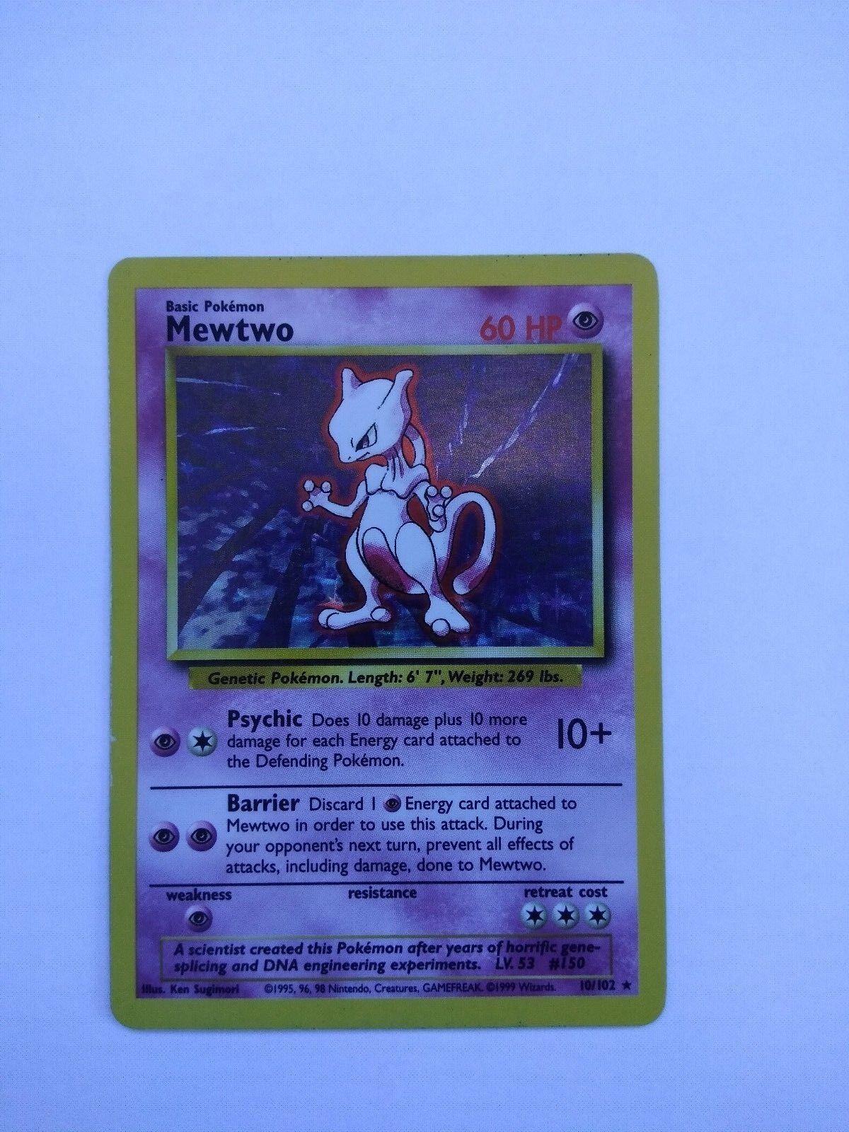 Pokemon Base Set 1st Edition Shadowless Card Card Card Mewtwo PSA 8 0f9136
