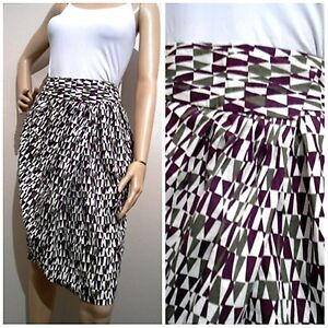 VERONIKA-MAINE-size-10-geometric-patterned-100-cotton-SKIRT-with-deep-pockets