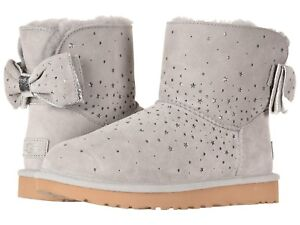 8abeb1a75ec Details about Women's Shoes UGG Classic Mini STARGIRL BOW Boots 1098475  SEAL *New*