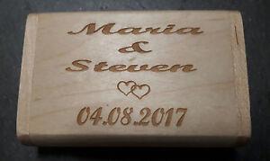 Details zu USB-Stick in Box mit persönlicher Gravur für das Hochzeitspaar /  Hochzeitsfotos