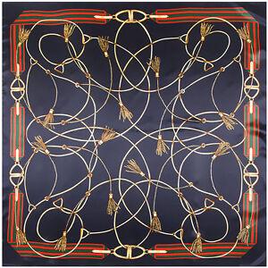 Women-039-s-Fashion-Silk-Satin-Square-Scarf-Blue-Chain-Printed-Shawl-Hijab-35-034-x35-034