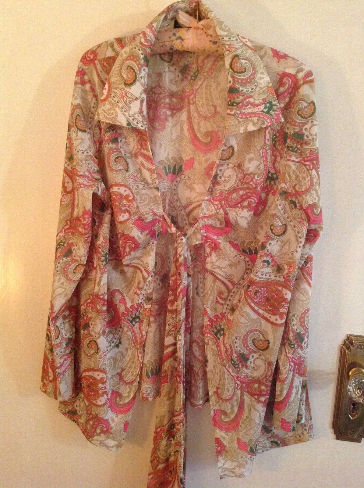 Attitudes by Renee Paisley multi colour, tie front, long Sleeve Cardigan, Size L