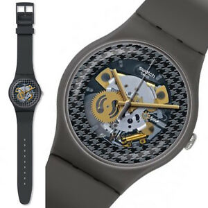 Swatch-New-Gent-Greybolino-Reloj-Hombre-Unisex-Coleccionable-Negro-Gris