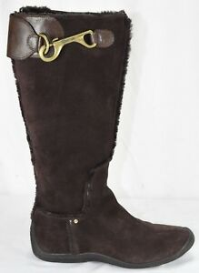 Details about Nike Lab G Series Dark Brown Suede Zip Tall Winter Fur Boots  Kitten Heel 7.5 B fd3a8c2c8