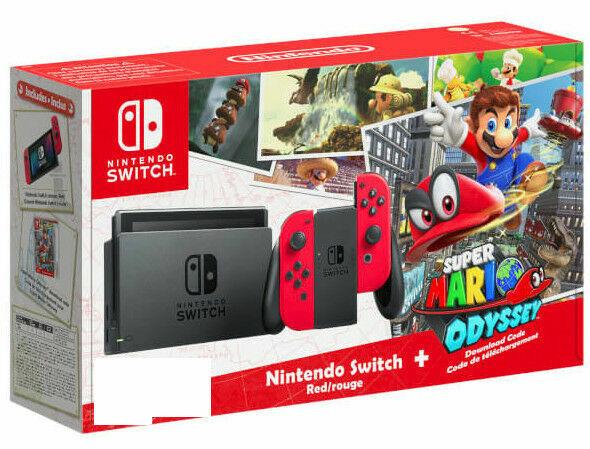 Nintendo Switch Super Mario Odyssey Bundle - Rot