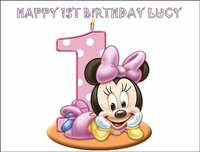 Awe Inspiring A4 Minnie Mouse 1St Birthday Edible Icing Cake Topper Funny Birthday Cards Online Inifodamsfinfo