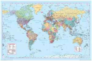 World map poster print 36x24 wall home art school decor 184709360044 image is loading world map poster print 36x24 wall home art gumiabroncs Choice Image