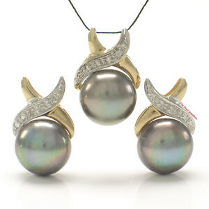 Image Is Loading Black Cultured Pearls Earrings Amp Pendant Set 14k