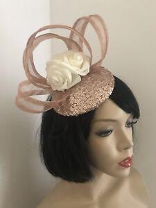 NEW Nude Rose Gold   cream Fascinator Pillbox Wedding Hat Formal ... 05b9e9745fc