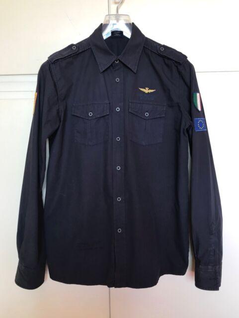 Camicia uomo AERONAUTICA MILITARE blu frecce tricolori tg M military shirt