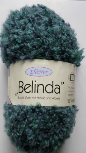 "Effektgarn Garn Wolle Strickwolle Boucle-Garn mit Alpaka /""Belinda/"" Blau 50g NEU"