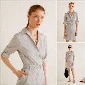 aa72389e754 ... NEW MANGO Zara Group Cotton Striped Shirt Dress size EUR L USA 8