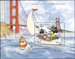 Butan-1991-Disney-Mickey-Vela-Barco-puente-Caricaturas-animacion-1v-m-s-b4762s