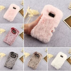quality design d9220 b9387 Details about Crystal Plush Case Soft Fluffy Rabbit Fur Phone Cover For  Various Samsung Models