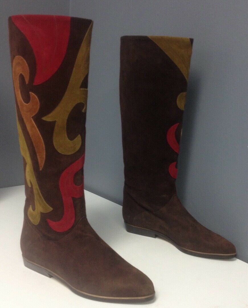BALLY NWOB Brown Suede Red Yellow orange Swirly Pattern Knee High Boots Sz 7.5