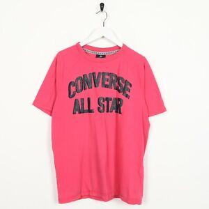 Vintage-Converse-Tutti-Stella-Grande-Incantesimo-fuori-Logo-T-Shirt-Tee-Rosa-M-M