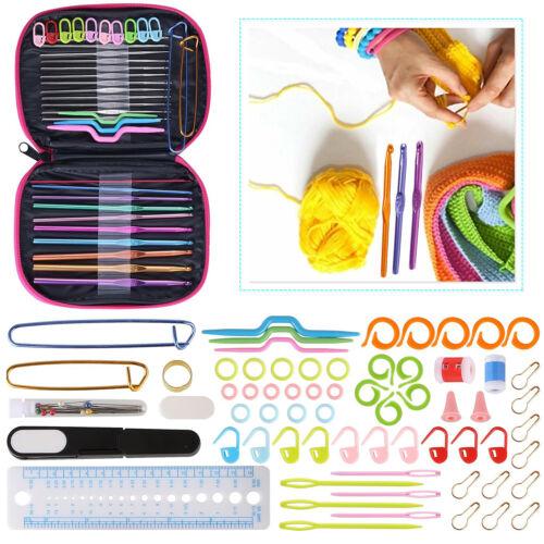 Ganchos de ganchillo juego de aluminio con Accesorios herramientas de agujas 100 un para tejer