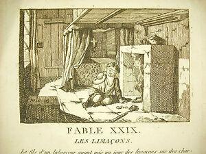 Charmant Fable Le Limaçon C 1800 Colchea Story Gravure Print Dans Le Gôut De La Fontaine Les Couleurs Sont Frappantes