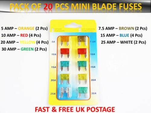 20PCS PEUGEOT MINI CAR SET AUTO BLADE ASSORTED FUSE 5 7.5 10 15 20 25 30AMP