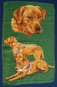 Vintage-Retro-Souvenir-PURE-LINEN-Tea-Towel-GUIDE-DOGS-For-Blind-Labrador