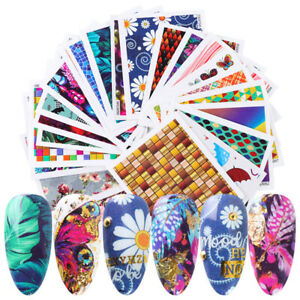 24-Sheets-Colorful-Butterfly-Nail-Water-Decals-Various-Flowers-Transfer-Stickers