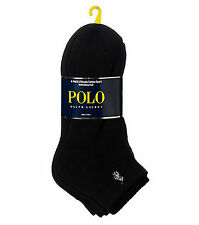 Polo Ralph Lauren Classic Cotton Black Ankle Sport Socks 6-Pack UK 9-12 Mens