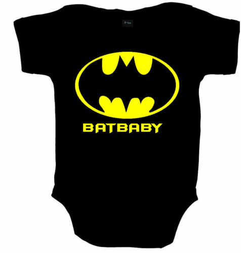BATBABY BATMAN SUPERHERO FUNNY BABY GROW VEST SHOWER GIFT FREE UK POSTAGE