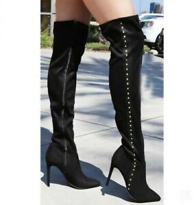 womens ladies studded over the knee thigh boots high heel
